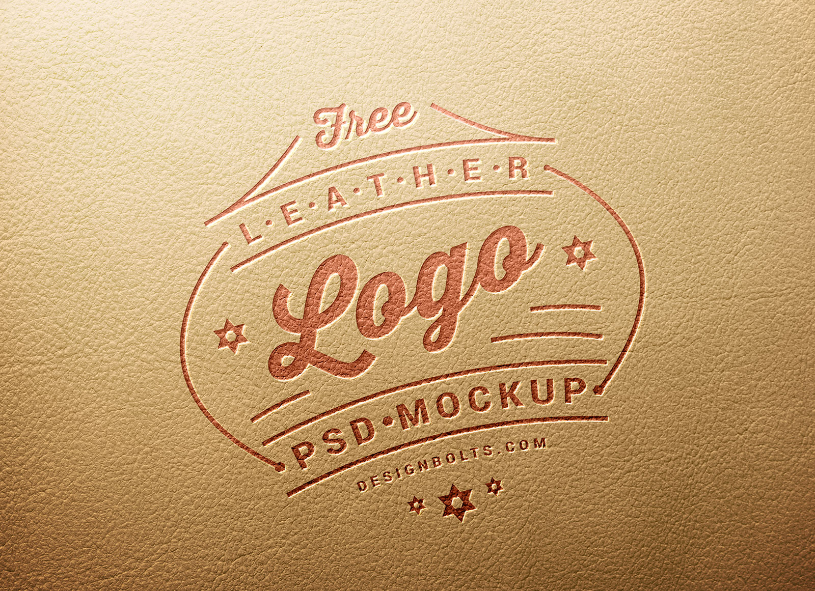 Free Leather Logo Mockup PSD Engraved