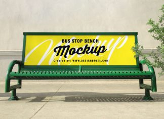 Free-Outdoor-Advertising-Bus-Stop-Bench-Mockup-PSD