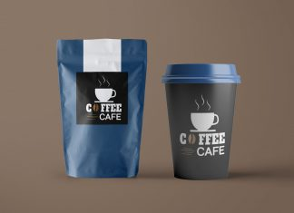 Free-Paper-Coffee-Bag-&-Cup-Packaging-Mockup-PSD