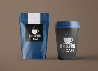 Free-Paper-Coffee-Bag-&-Cup-Packaging-Mockup-PSD