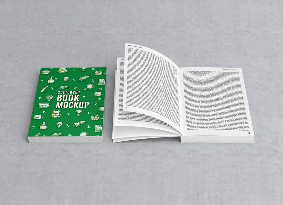 Free Softcover Title & Open Book Mockup PSD - Good Mockups