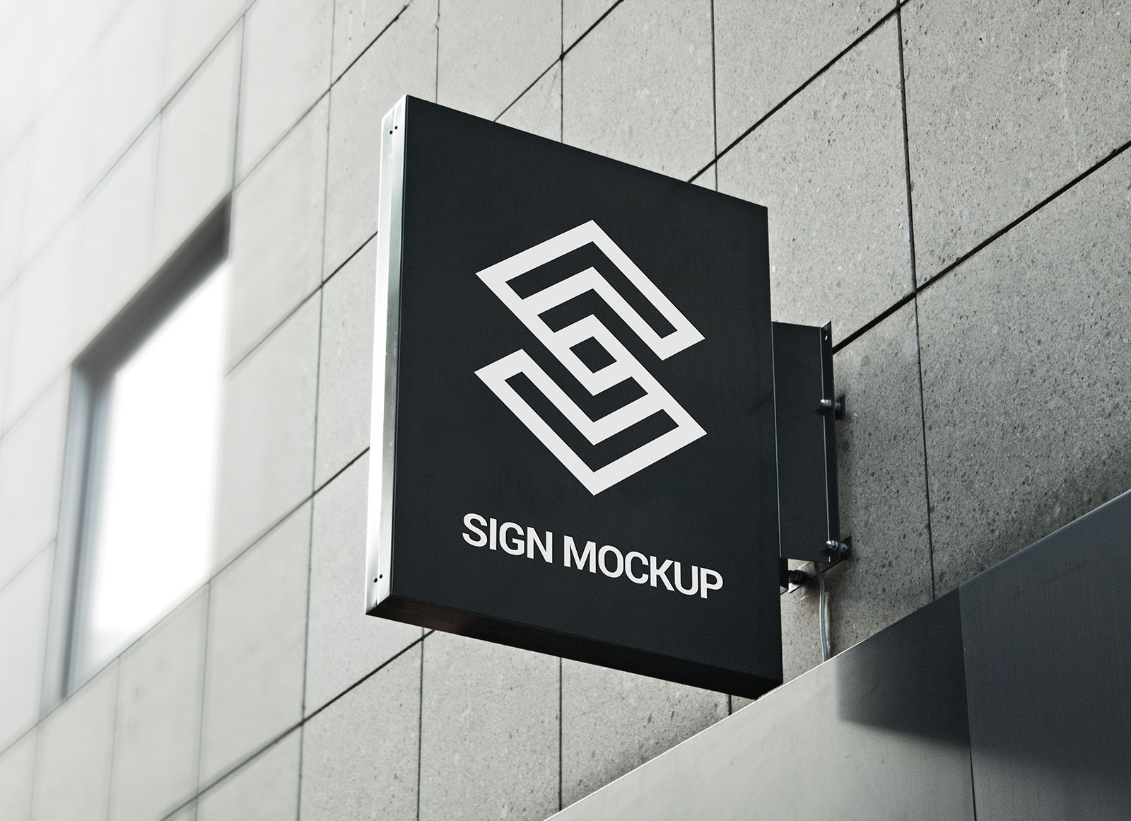 Free Square Hanging Wall Sign Mockup PSD