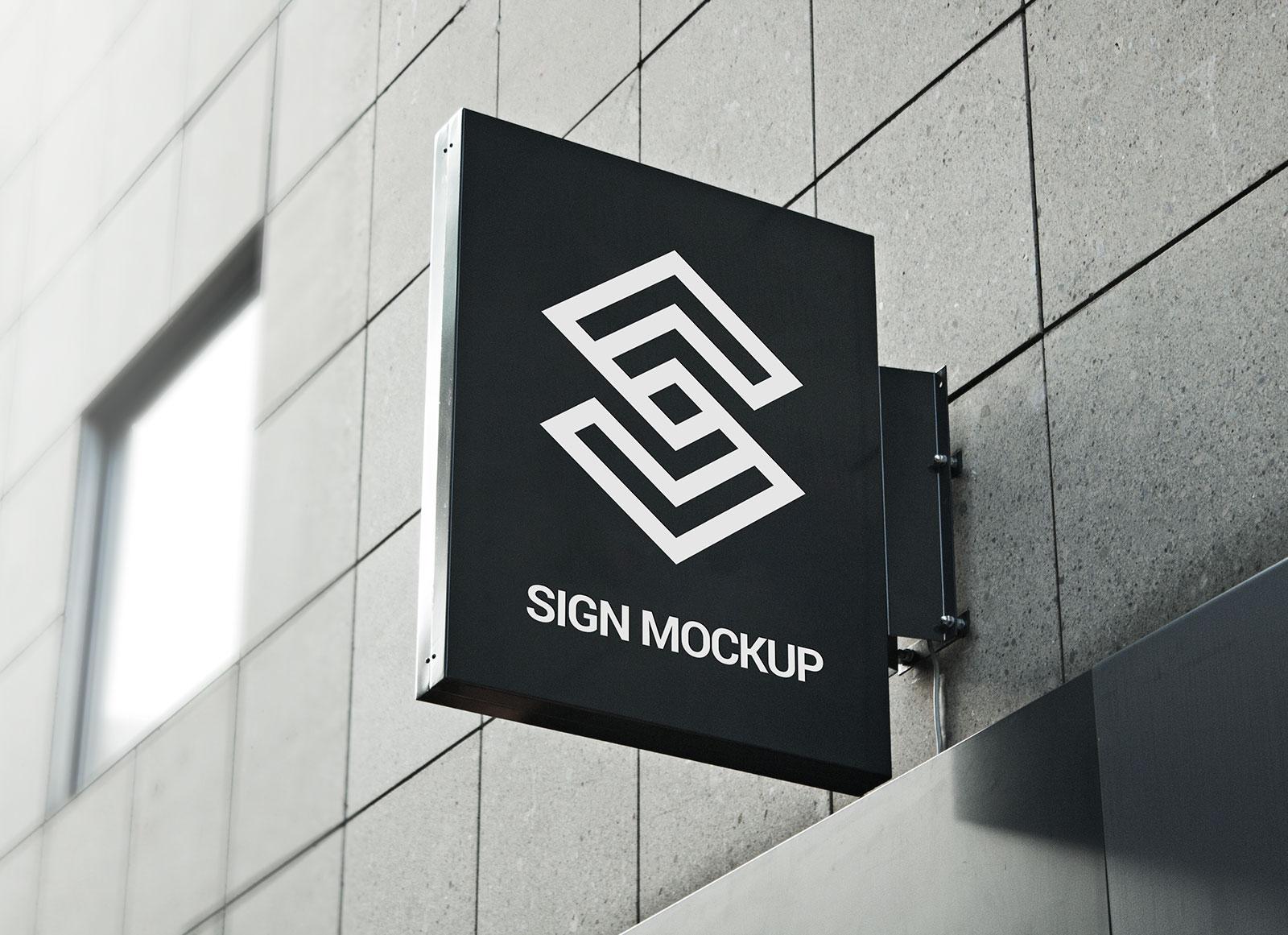 Free Square Hanging Wall Sign Mockup PSD