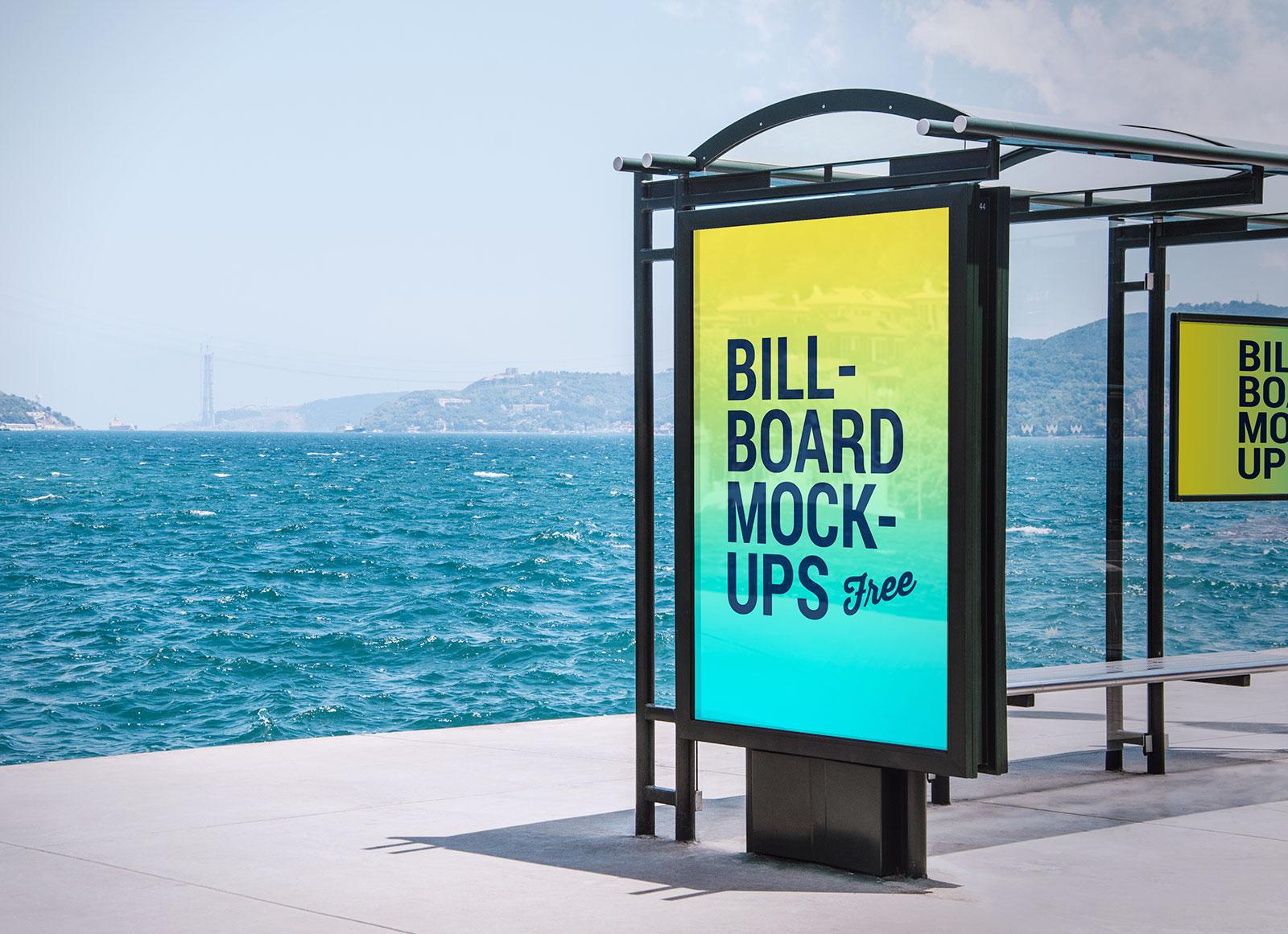 2-Free-Bus-Stop-&-Roadside-Billboard-Mockup-PSD-Files-2
