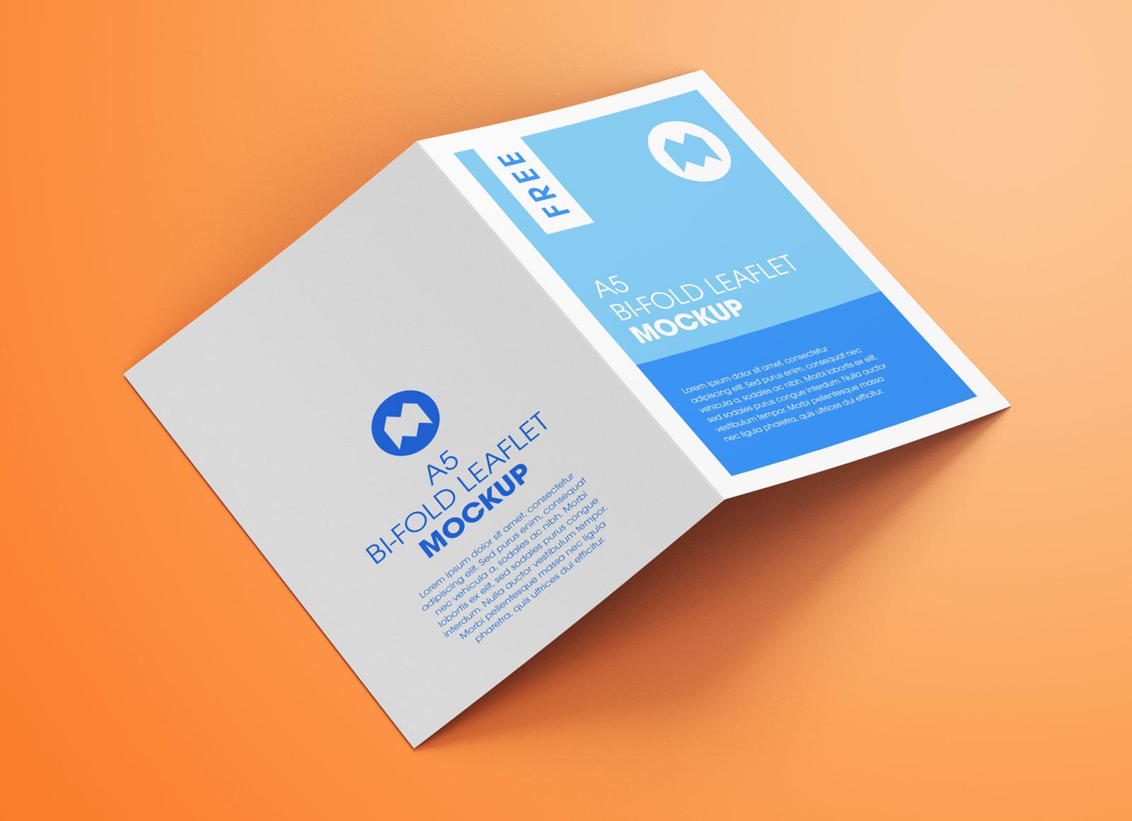 Free A5 Bi-Fold Brochure Leaflet Pamphlet Mockup PSD Set (1)