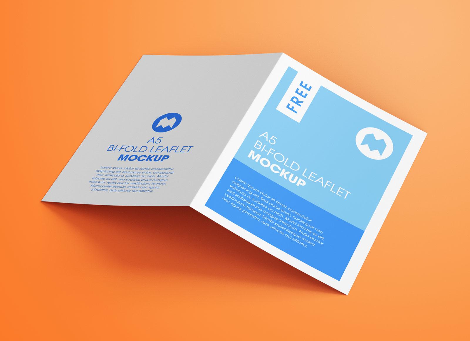Free A5 Bi-Fold Brochure Leaflet Pamphlet Mockup PSD Set (2)