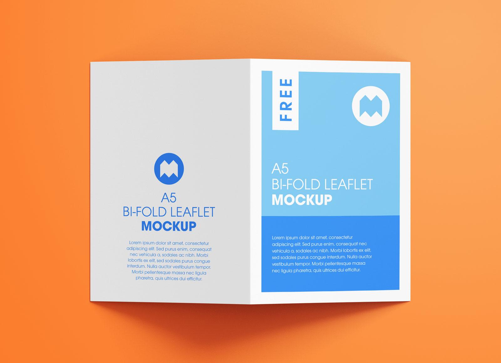 Free A5 Bi-Fold Brochure Leaflet Pamphlet Mockup PSD Set (3)