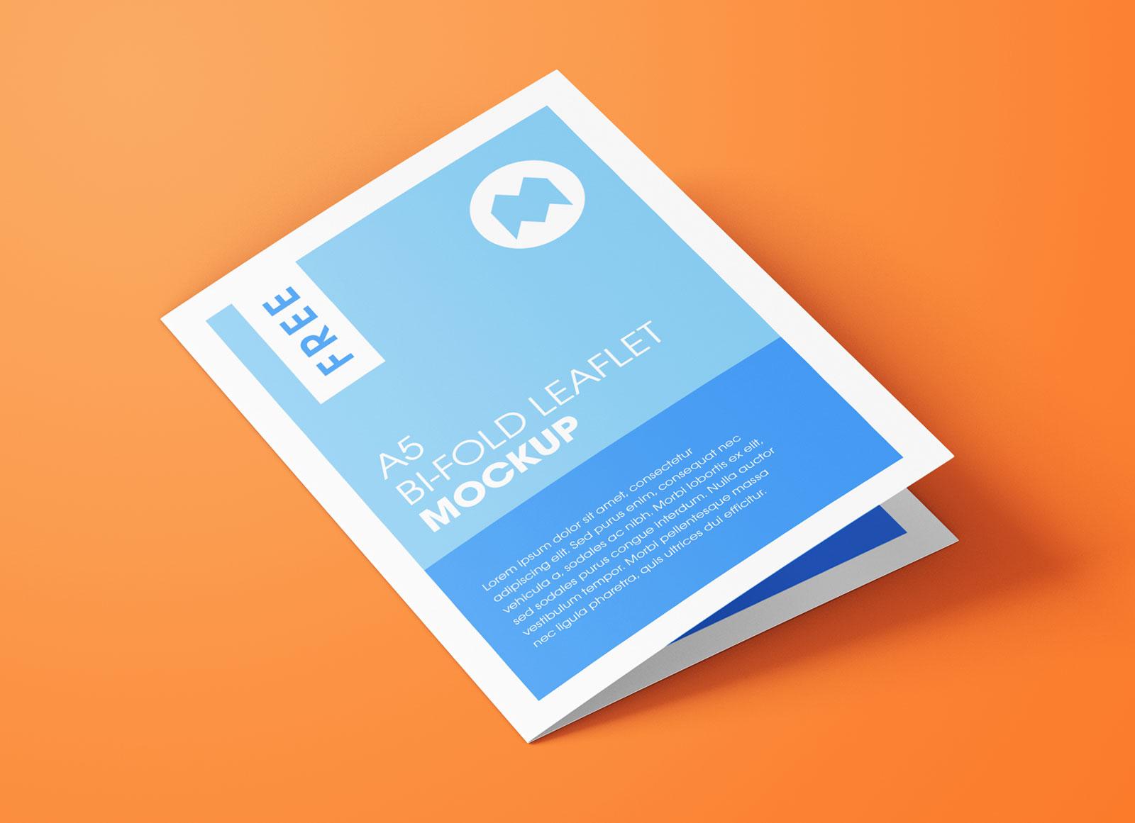 Free A5 Bi-Fold Brochure Leaflet Pamphlet Mockup PSD Set (4)