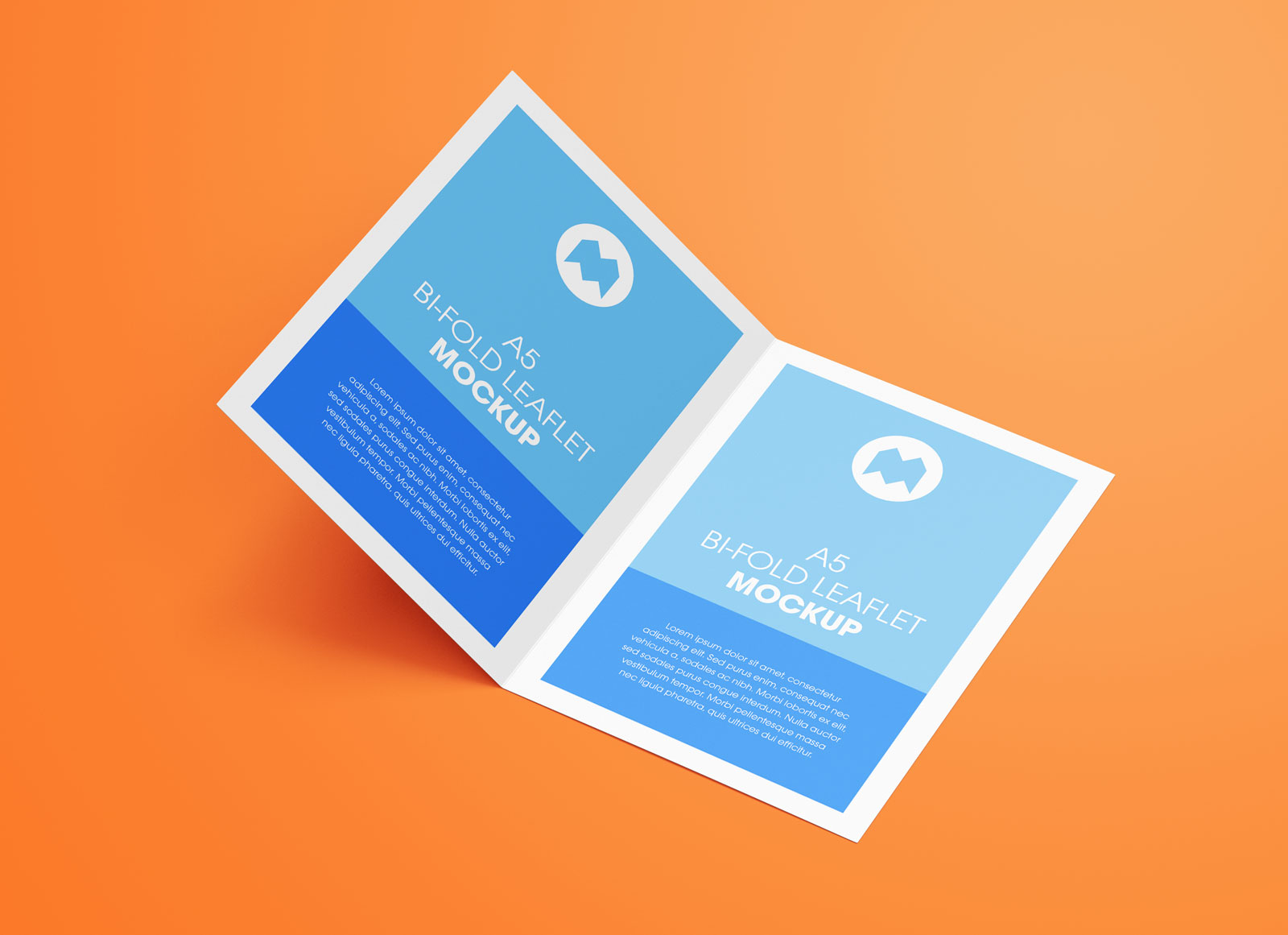 Free A5 Bi-Fold Brochure Leaflet Pamphlet Mockup PSD Set (5)