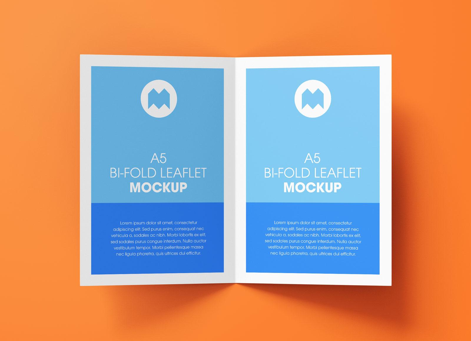Free A5 Bi-Fold Brochure Leaflet Mockup PSD Set (6)