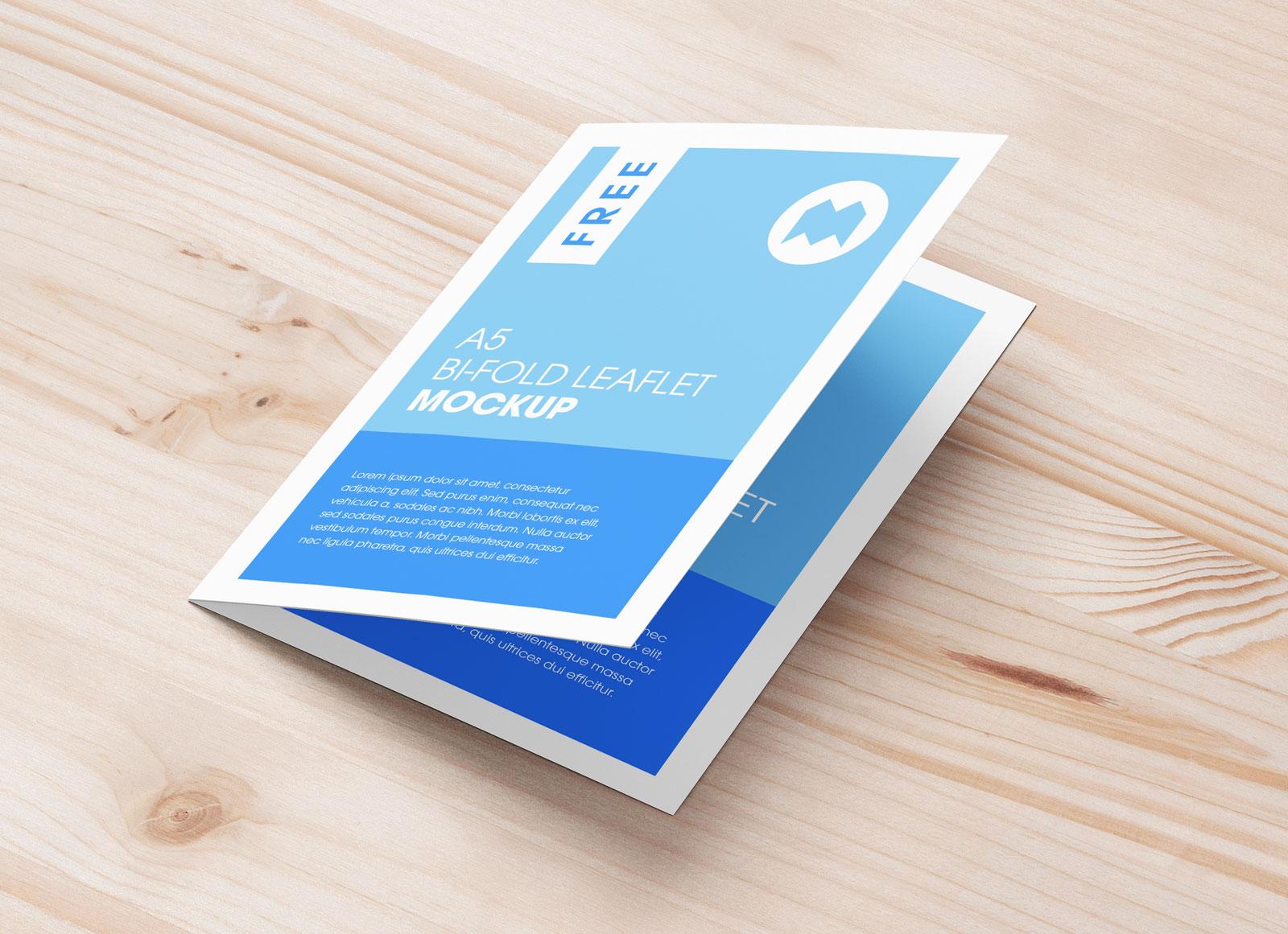Free A5 Bi-Fold Brochure Leaflet Pamphlet Pamphlet Mockup PSD Set (7)