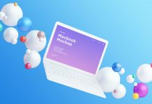 Free-Apple-Macbook-Mockup-with-Colorful-Spheres