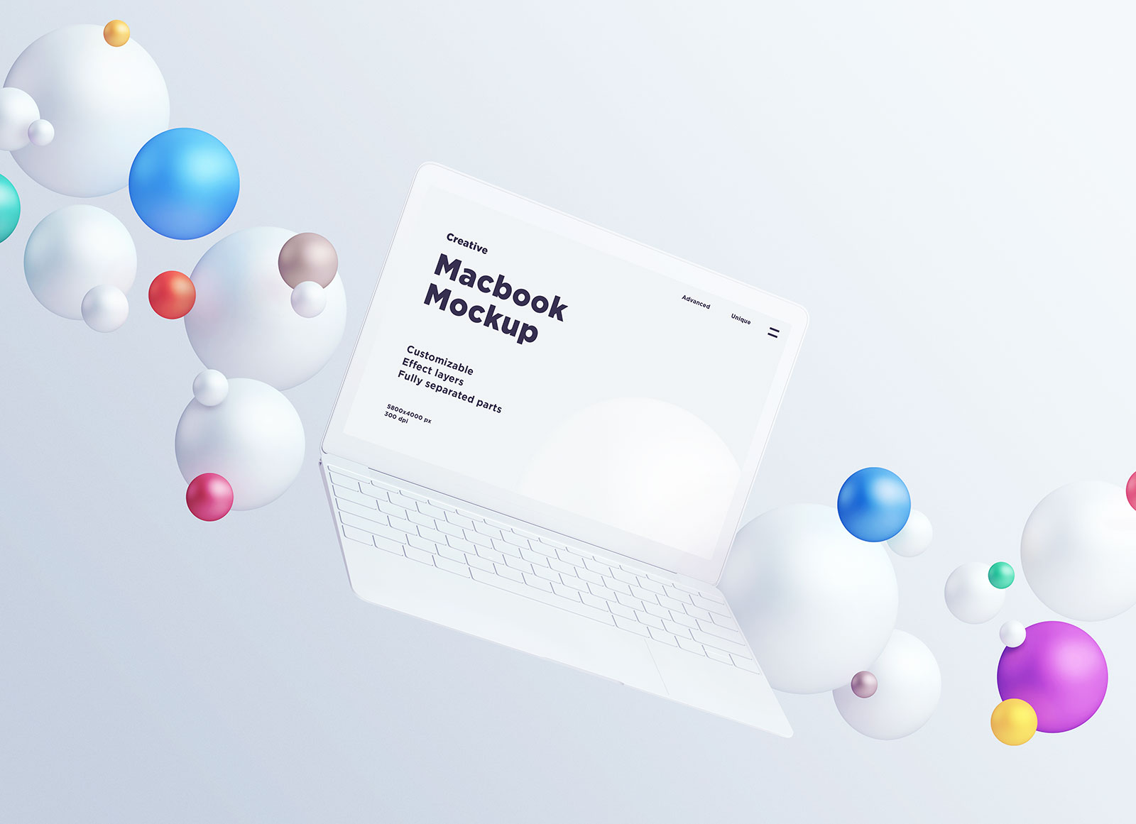 Free-Apple-Macbook-Mockup-with-Colorful-Spheres-3