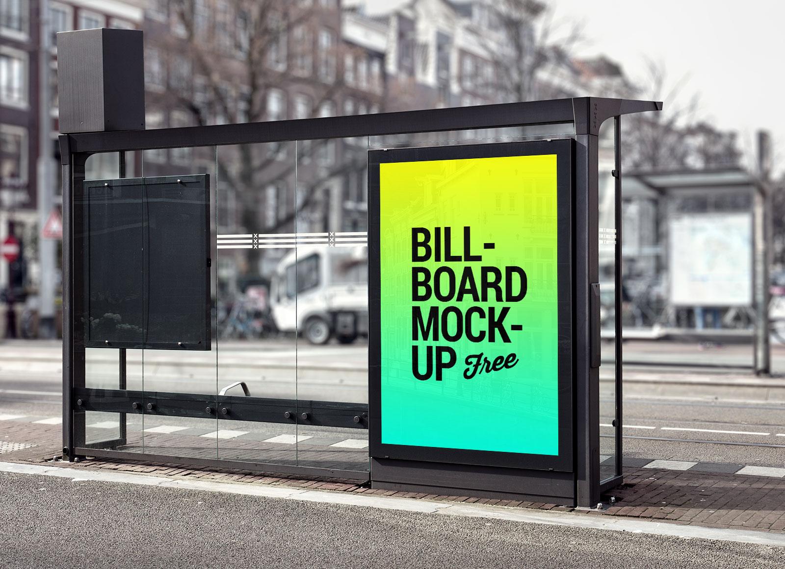 Free Bus Shelter Roadside Billboard Mockup PSD File