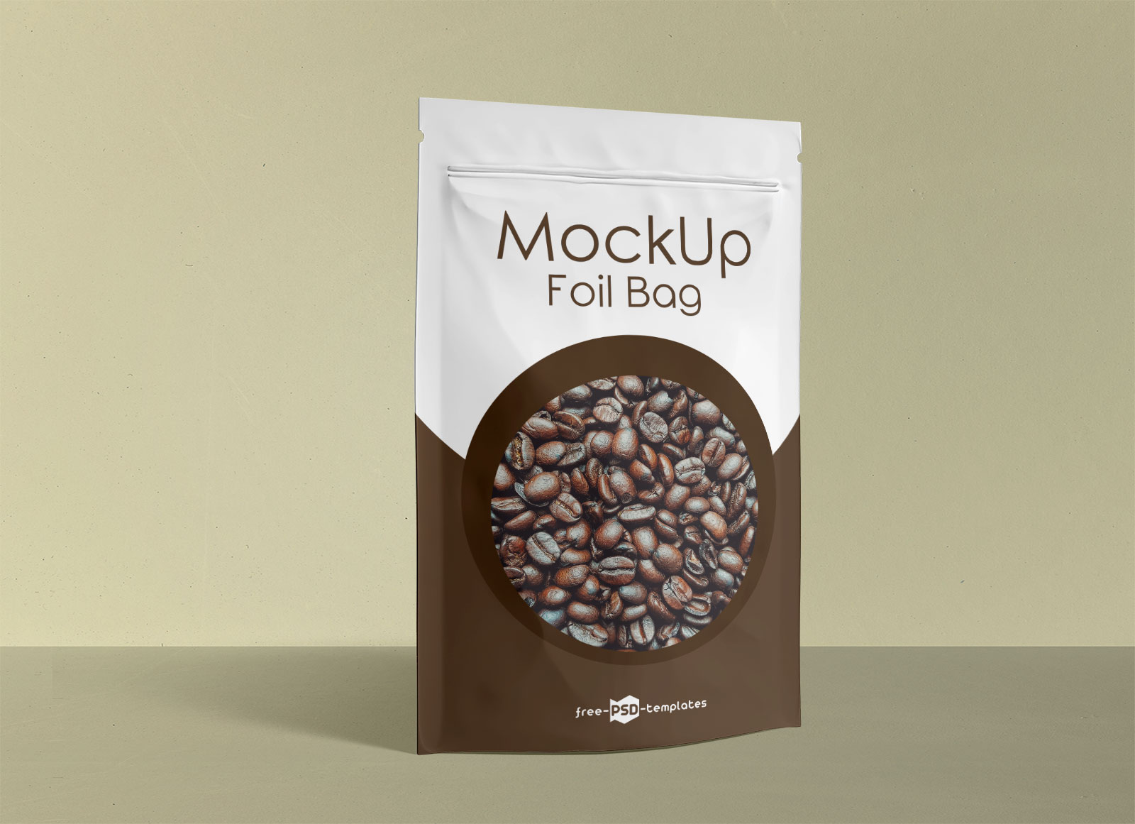Free Stand-Up Foil Pouch For Food Packaging Mockup PSD Set
