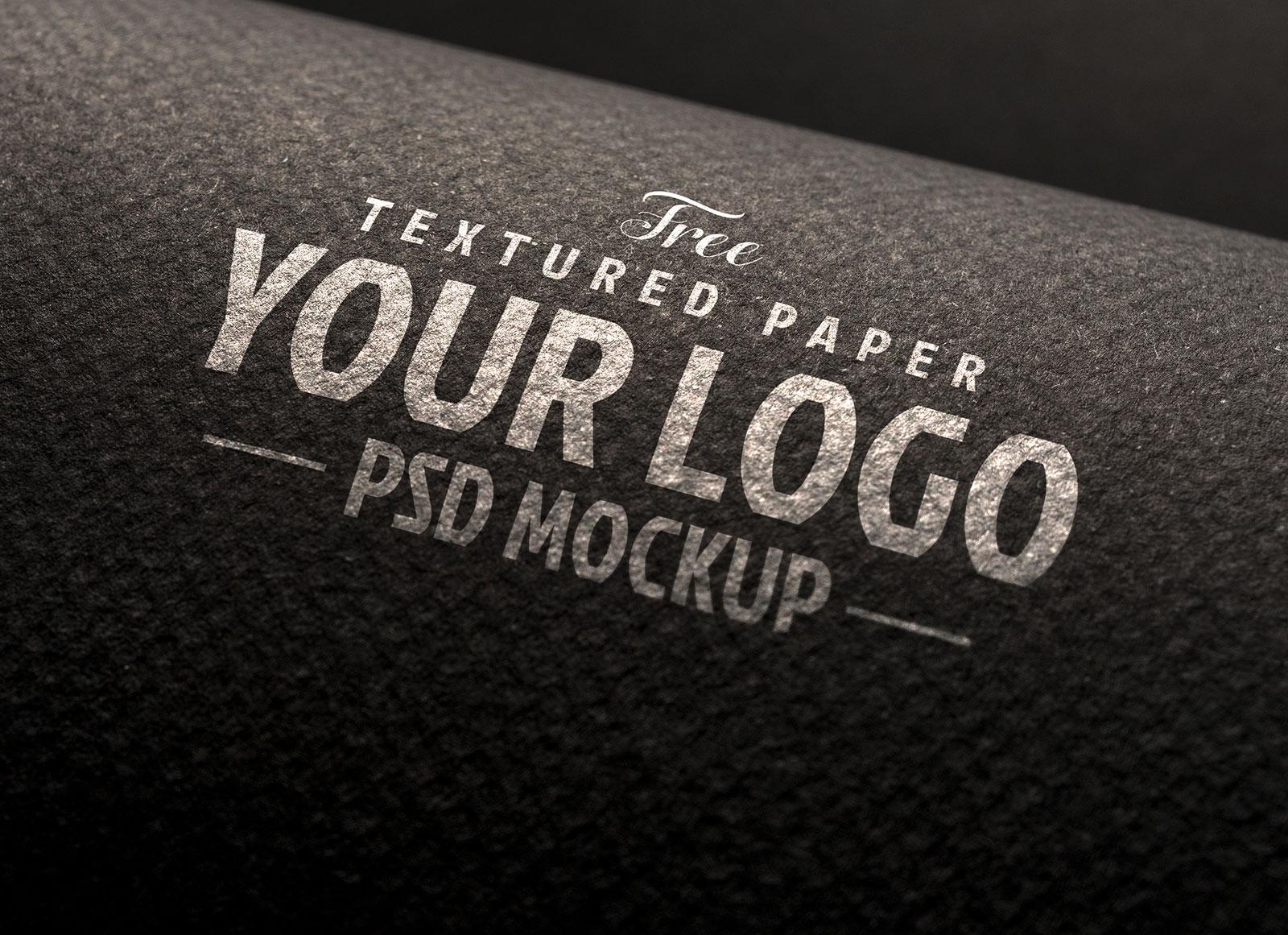 Free Textured Paper Logo Mockup PSD Set (3)
