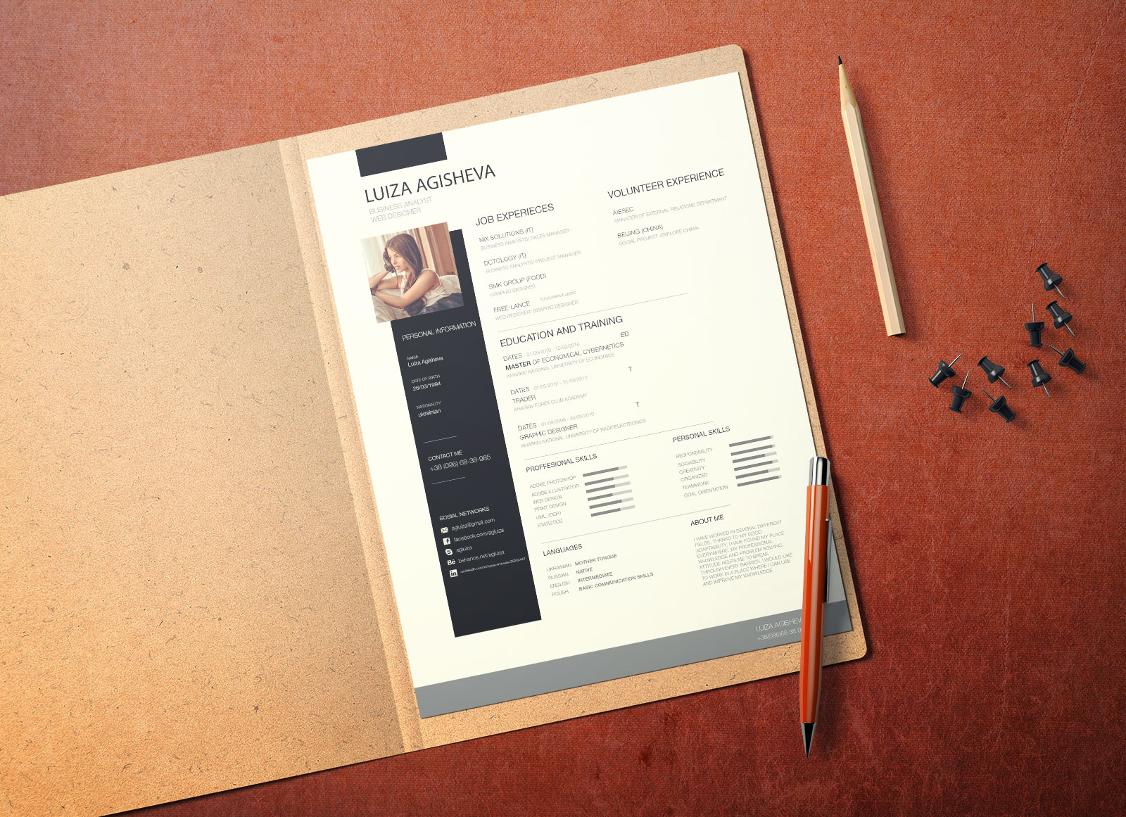 Free US Paper Letter Size Mockup For Business Document Letterhead Or Resume