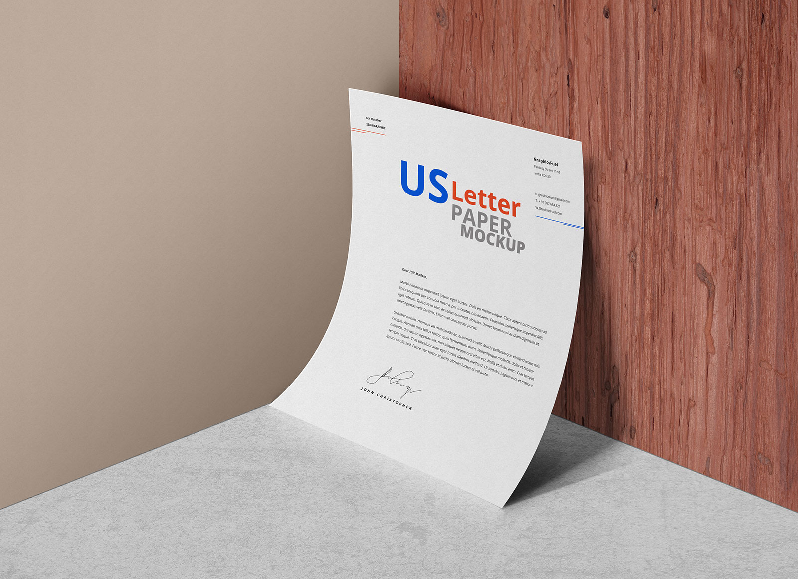 Free Curved US Letter Size Paper Mockup PSD