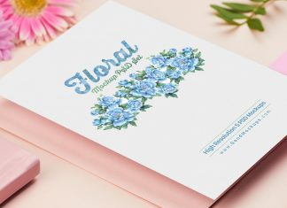 Free A4, A5, A6 & Square Greeting / Wedding Card Mockup PSD Set