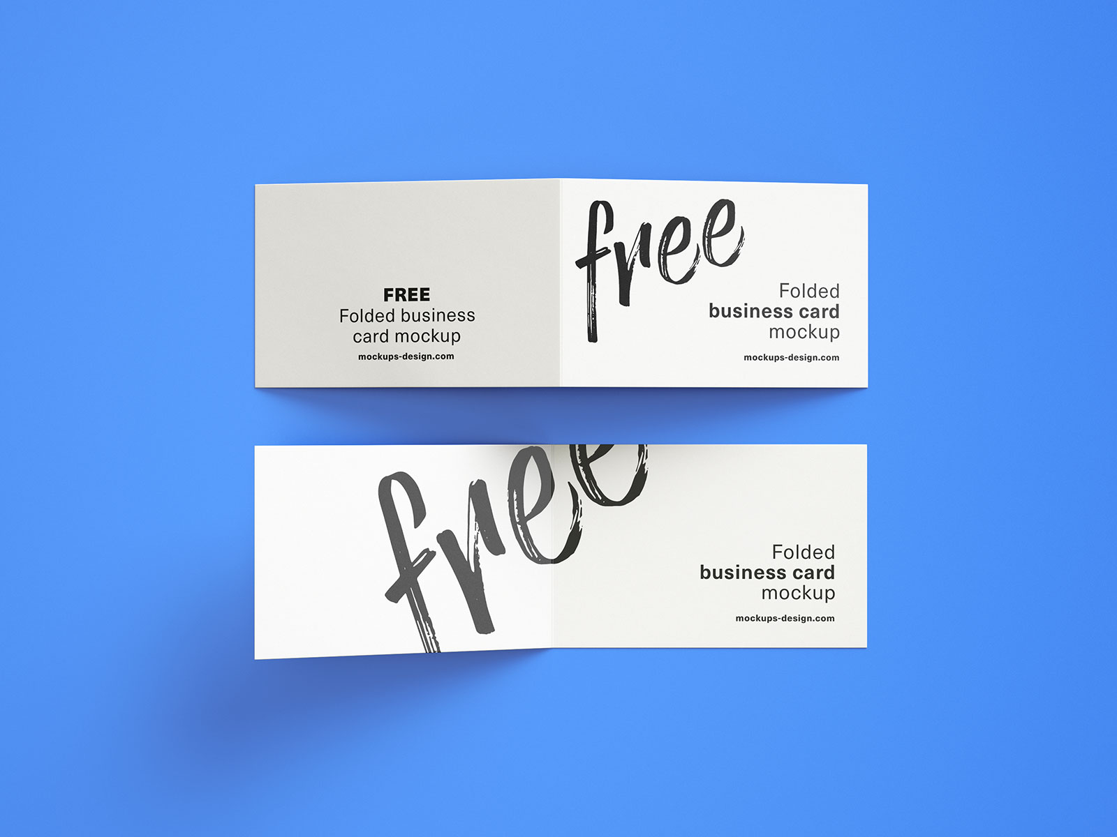 Free Folded Business Card Mockup PSD Set (2)