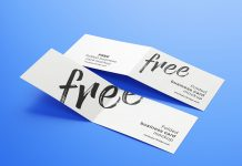 Free Folded Business Card Mockup PSD Set (4)