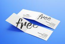 Free Folded Business Card Mockup PSD Set (4)