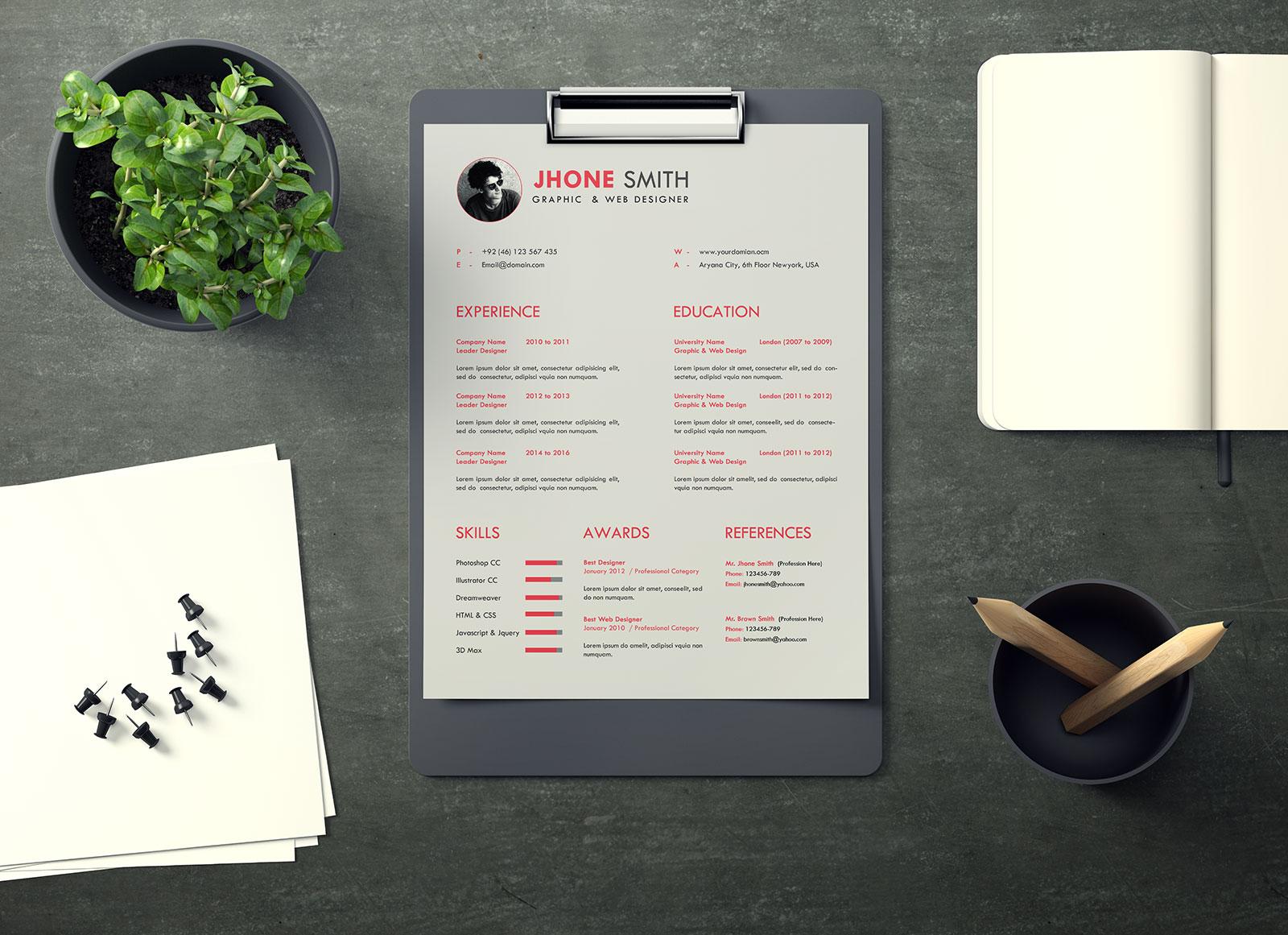free us letter paper resume    letterhead mockup psd