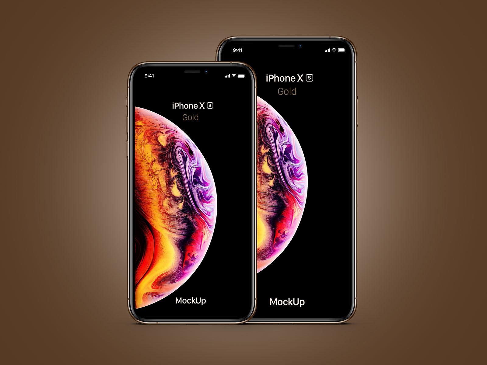 Free-iPhone-Xs-&-Xs-Max-Gold-Mockup-PSD