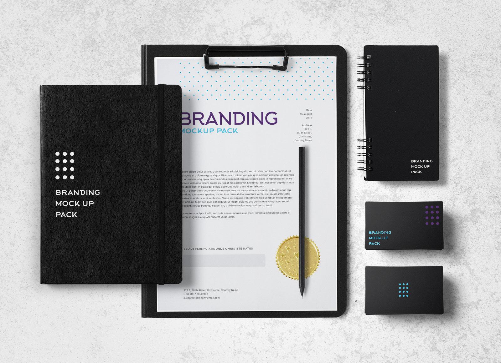 Free-Black-Stationery-Branding-Mockup-PSD