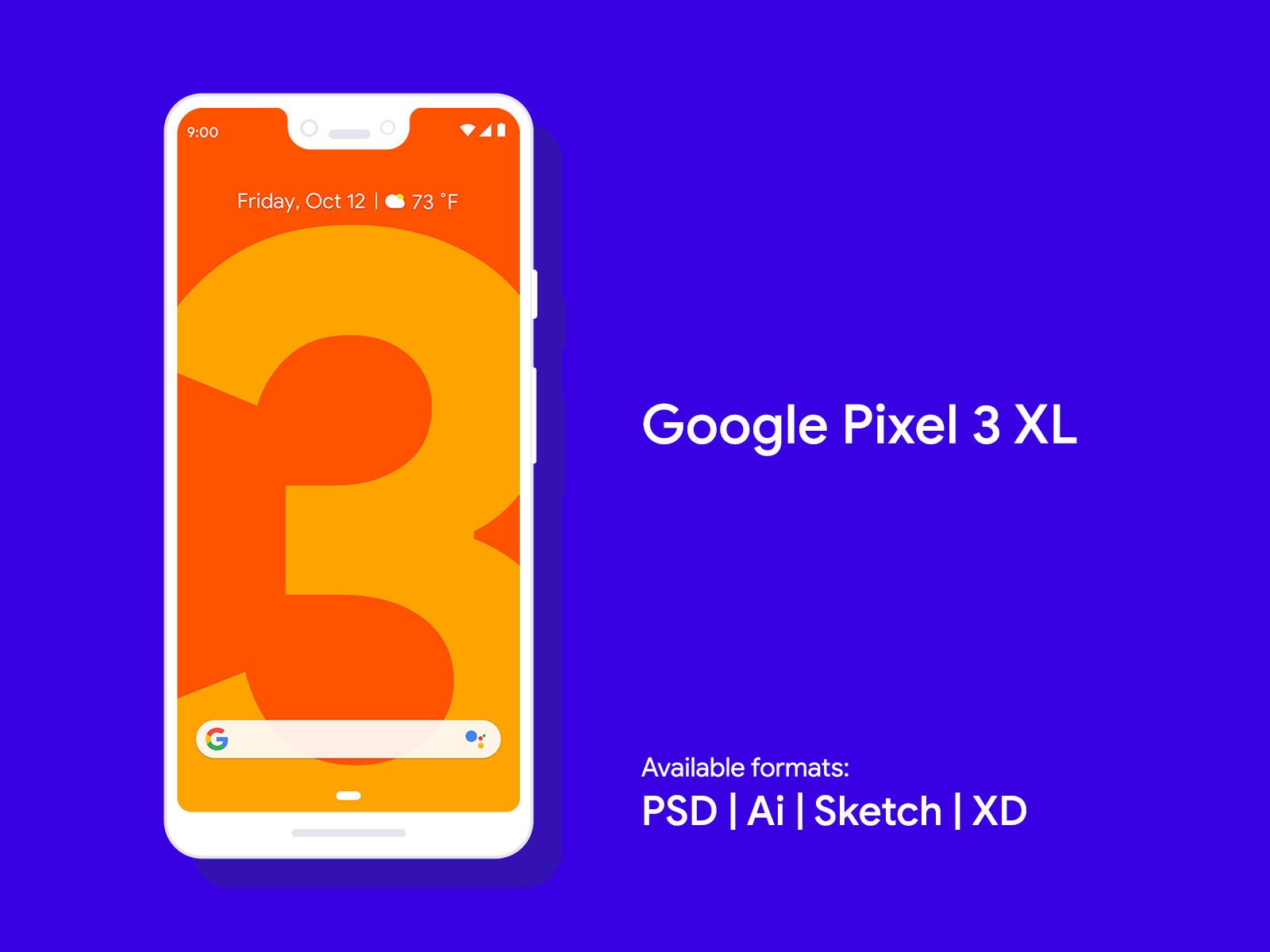 Free-Google-Pixel-3-&-Google-Pixel-3-XL-Mockup-PSD-Sketch-XD-Ai