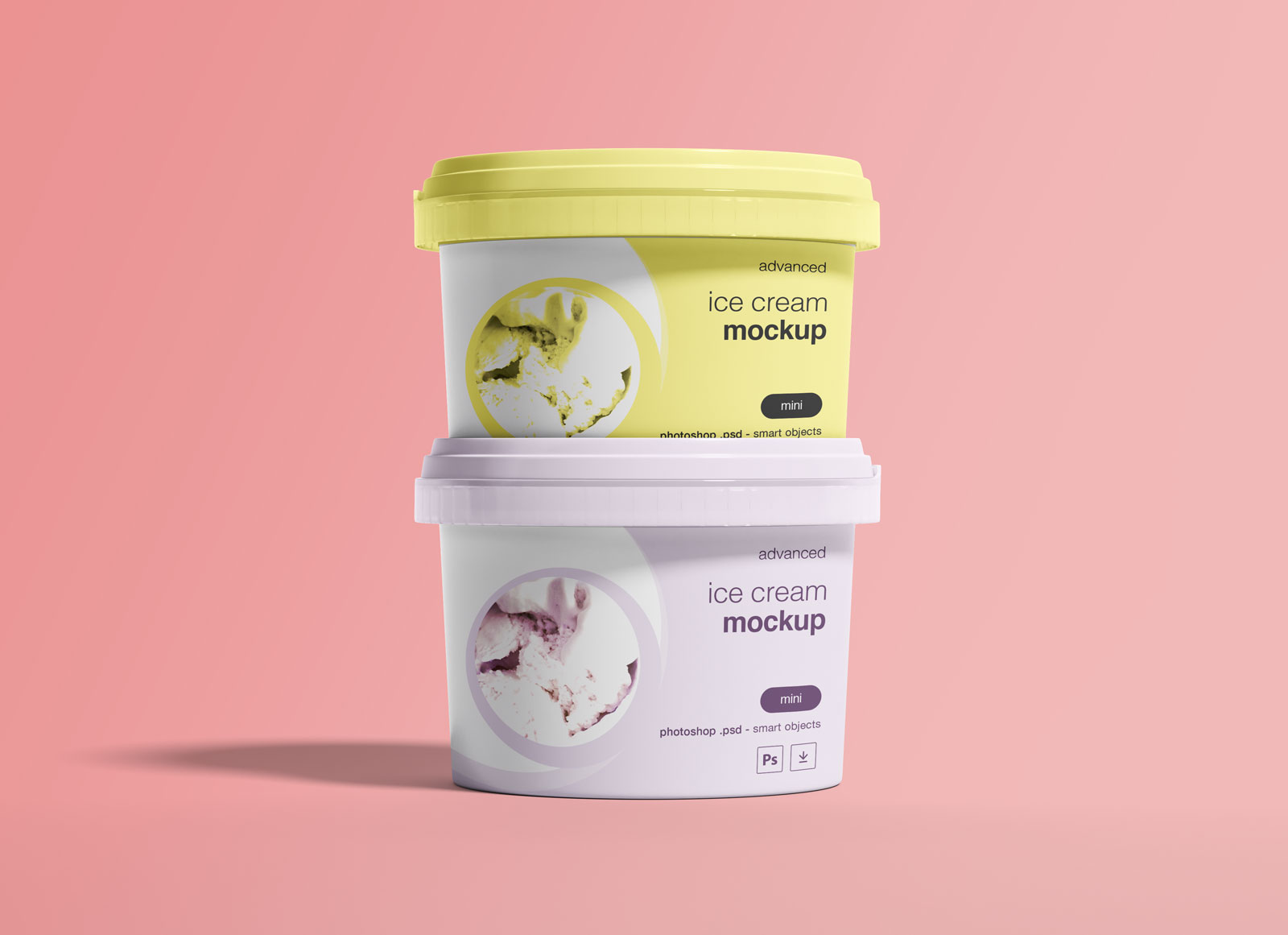 Free-Ice-Cream-Cup-Container-Bucket-Package-Mockup