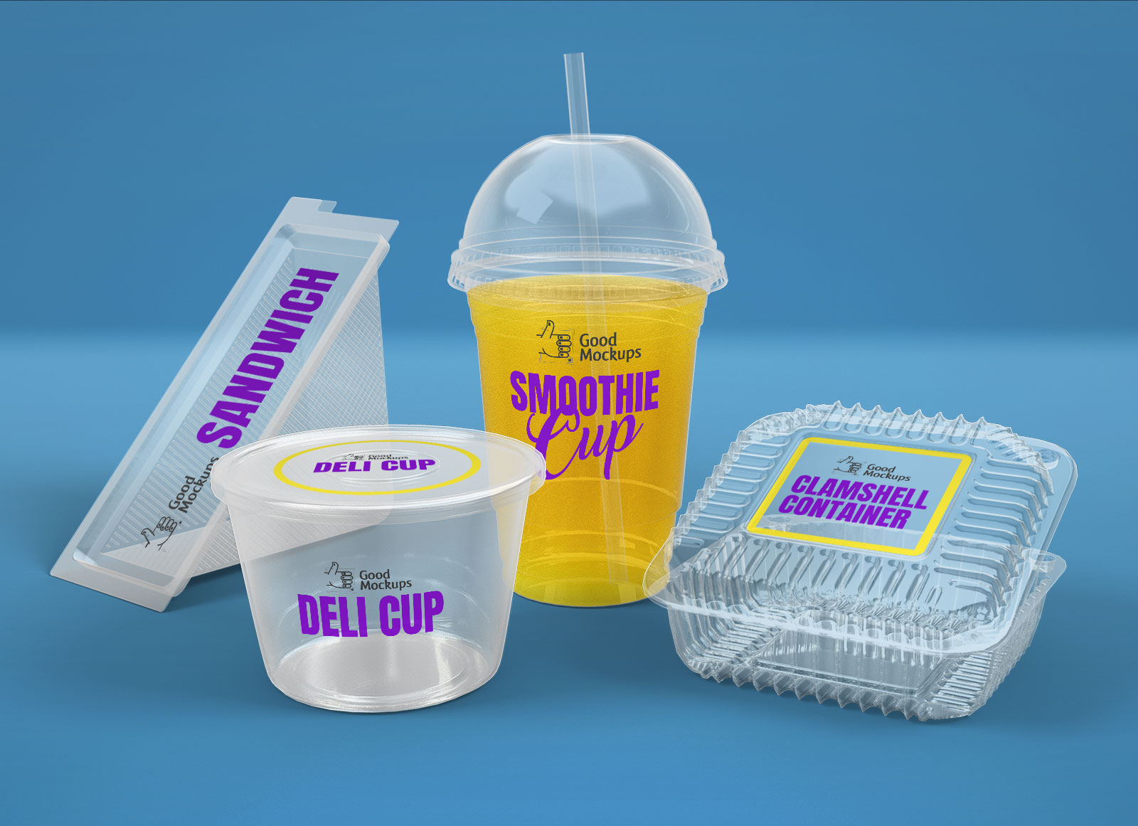 Free-Transparent-Sandwich-Box,-Clamshell-Container,-Deli-&-Smoothie-Cup-Packaging-Mockup-PSD