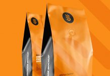 Free Aluminium Coffee Standing Pouch Packaging Mockup PSD (1)