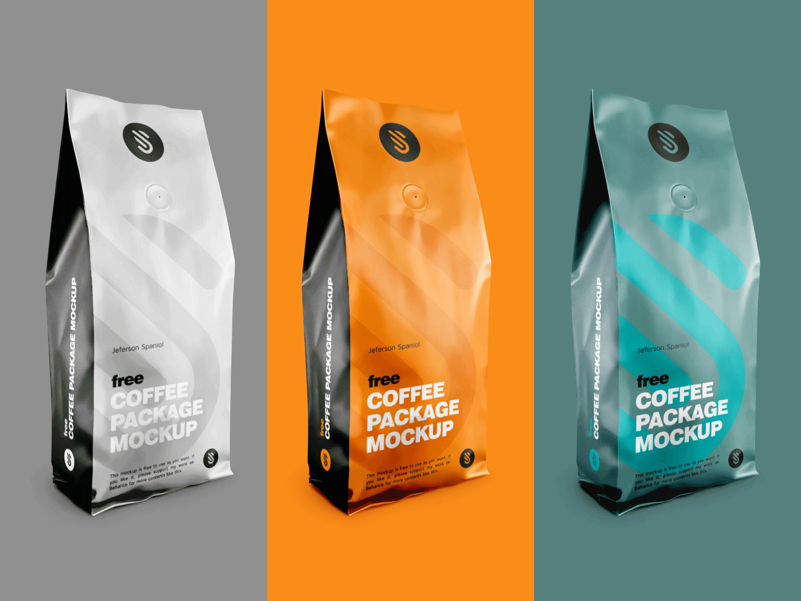free aluminium coffee standing pouch packaging mockup psd