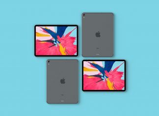 Free Top View of Apple iPad Pro 2018 Mockup PSD (1)