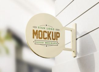 Free-Wall-Mounted-Round-Sign-Mockup-PSD