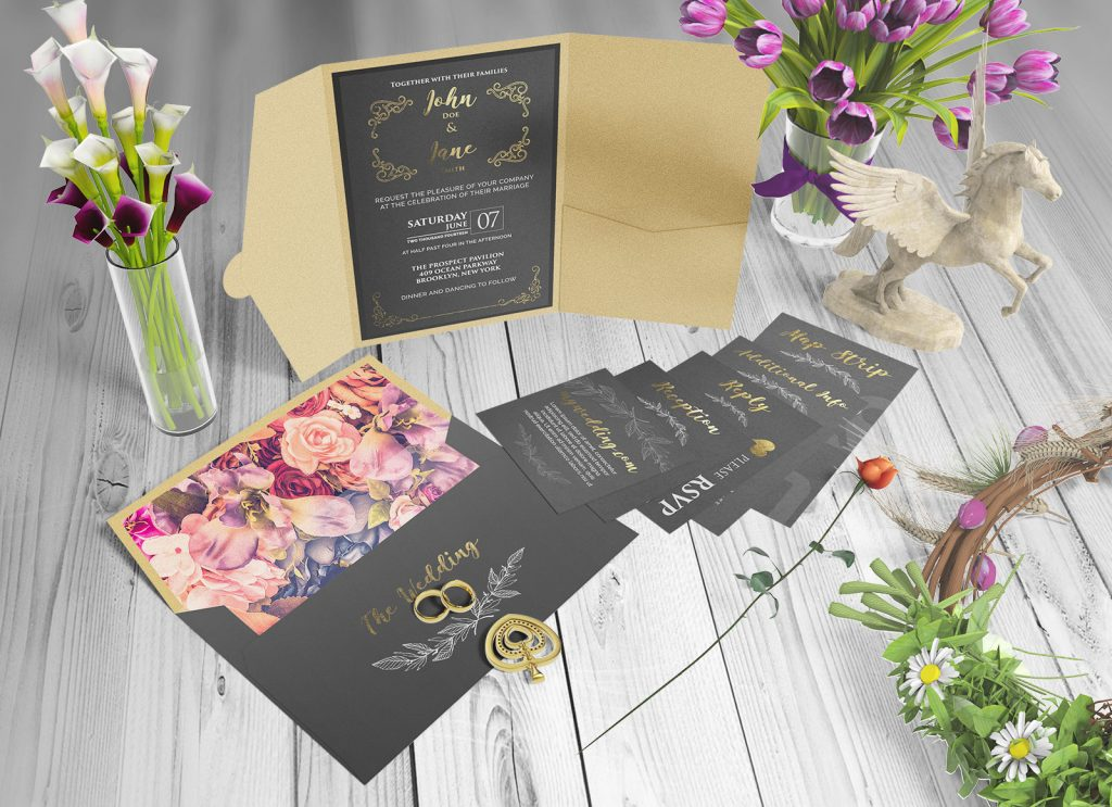 Free Beautiful Wedding Invitation Card Mockup Psd Set Good