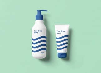 Free-Cosmetic-Pump-Bottle-Dispenser-&-Cream-Tube-Mockup-PSD