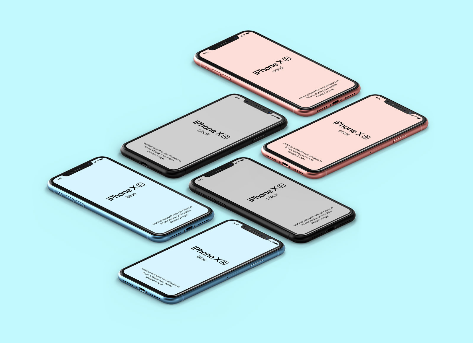 Free Isometric iPhone XR On Floor Mockup PSD