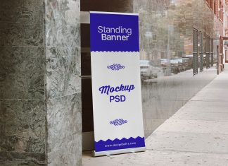 Free-Outdoor-Advertising-Standing-Banner-on-Road-Banner-Mockup-PSD