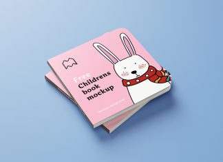 Free-Square-Children's-Book-Mockup-PSD-Set