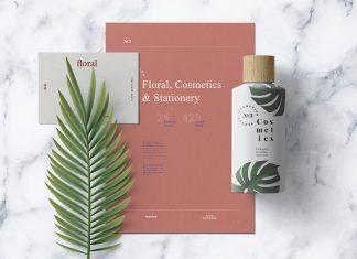 Free-A4-Paper-&-Cosmetic-Bottle-Mockup-PSD-Scene