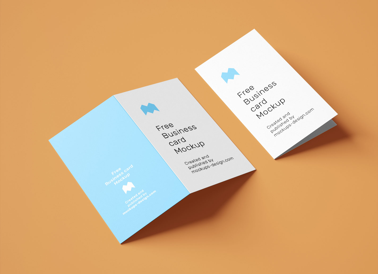 Free Vertical Folded Business Card Mockup PSD Set