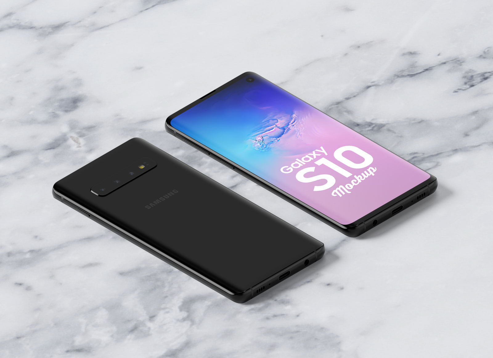 Free-Isometric-Samsung-Galaxy-S10-Mockup-PSD-(Front-&-Backside)