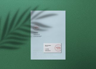 Free-Letterhead-&-Business-Card-Mockup-PSD-With-Shadow-Overlay