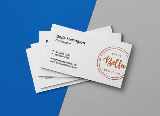 Free Simple Letterpress Business Card Mockup PSD