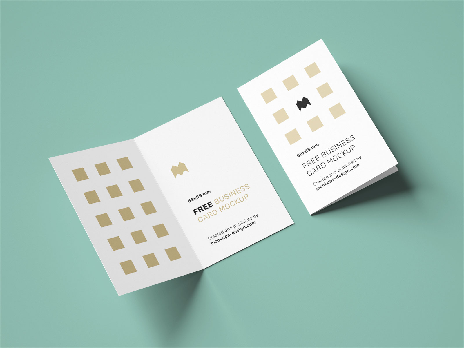 Free Vertical Folded Business Card Mockup PSD Set UK Size (3)