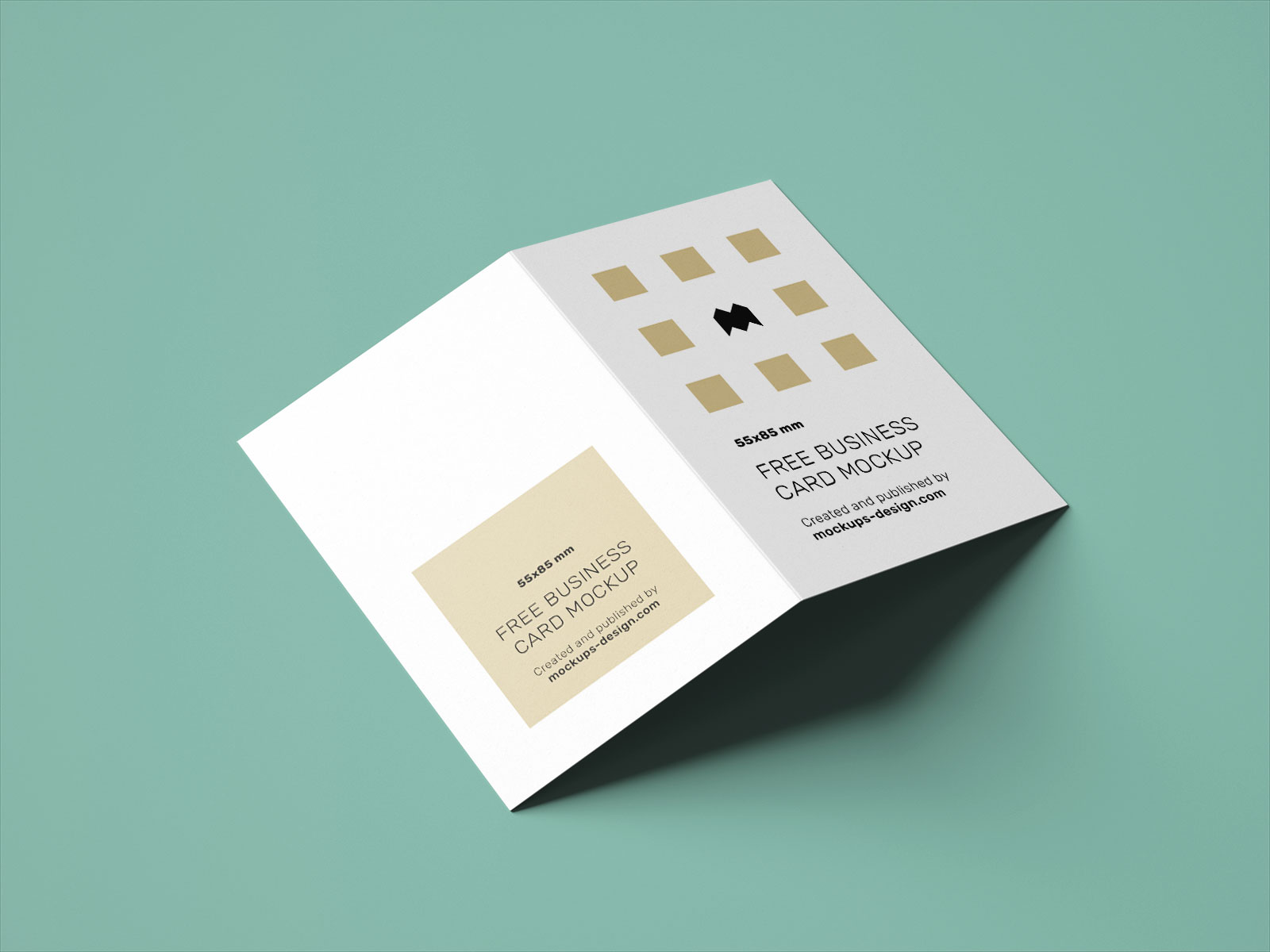 Free Vertical Folded Business Card Mockup PSD Set UK Size (5)