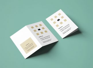 Free Vertical Folded Business Card Mockup PSD Set UK Size (6)
