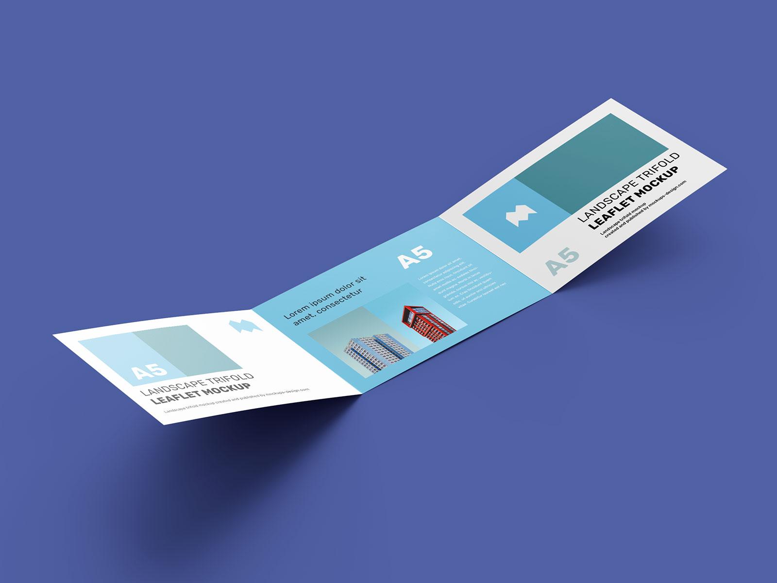 Free A5 Tri-Fold Brochure Mockup PSD (1)